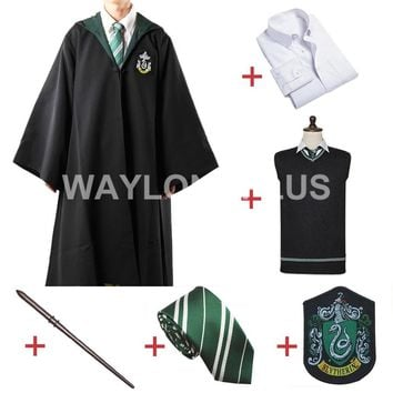 Free Shipping Slytherin Malfoy Robe Cloak Pullover Sweater Shirt Necktie Badge Wand      for Harri Potter Cosplay