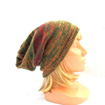 knit colorful hat, knitted green orange wool cap, knit women men slouche, cloche , mulicolor striped winter hat, beanie hat, camouflage cap