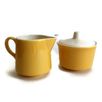 Mid Century Sugar And Creamer, Ceramic, Yellow Exterior and White, USA Stamp, Retro Kitchen, Vintage Pottery, Tea Set