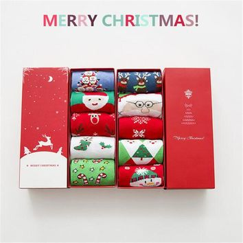 5 Pairs Women's Cute Color Christmas Holiday Cotton Gift Box Crew socks