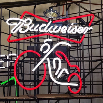 Budweiser Motocycle Neon Sign Real Neon Light