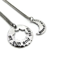 My Sun And Stars ~ Couples Necklace Set, Moon Of My Life, His & Hers Jewelry, Best Friends Token, Boyfriend Girlfriend Gift, Mother Daughter