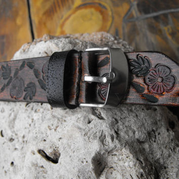 Tooled Watch Band, Women's Watch band, Watch strap women, Women Watches, Handmade leather straps, Valentines gift