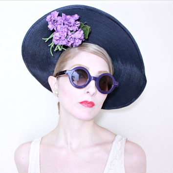1940s Hat / VINTAGE / Wide brim / Straw / Lilacs / Navy Blue / Derby Hat / WOW