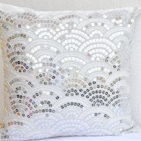Amore Beaute Handcrafted Ivory White Throw Pillow Covers with Embroidered Waves - Sashiko Pillow Cover- Cushion Cover Zipper - Throw Pillow Cover - Sofa Pillow Cover - Couch Pillow Covers - Silver Sequin Pillow Covers - Hand Embroidered Japanese Sashiko Se