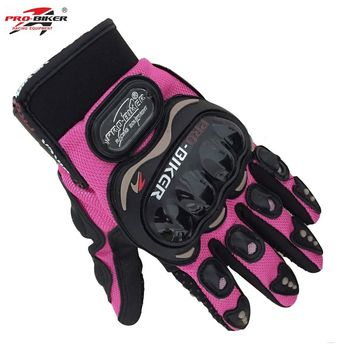 Pro biker Women Motorcycle Full Finger Gloves Riding Moto Motorcross Sports Gloves Cycling Guantes Luvas Pink S.M,L,XL,XXL