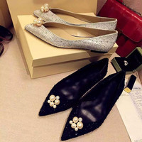 Pearls Rhinestone Leather Shoes [4920511556]