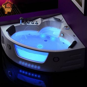 1500mm LED  Massage Whirlpool Wall Corner bath tub Shower SpaFiber Glass Acrylic Triangular Hydromassage  2 person Bathtub 6155