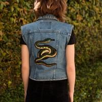 Snake Patched Denim Vest
