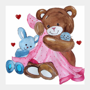 Cute Teddy Bear illustration Square Art Print I Artist: Seema Hooda