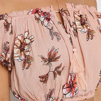 Dusty Pink Floral Crepe Off Shoulder Crop Top