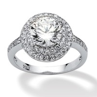 2.47 TCW Round Cubic Zirconia Platinum over Sterling Silver Engagement/Anniversary Ring