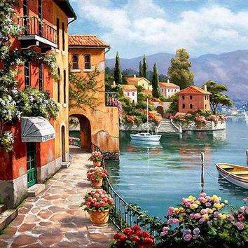 Unframed Venice Resorts Seascape DIY Painting By Numbers Handpainted Oil Painting Living Room House Wall Decor Artwork 40x50cm