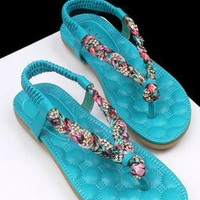 Colorful Braided Flat Sandals Mint Green