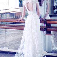 Lace and silk wedding dress with a train // Kamille // 2 pieces