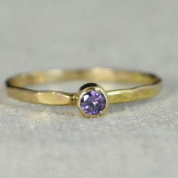 Classic 14k Gold Filled Amethyst Ring, Gold Solitaire, Solitaire Ring, 14k Gold Filled, January Birthstone, Mothers Ring, Gold Band, Yellow