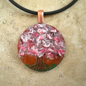 Hand Painted Tree Necklace: Cherry Blossom - Copper Jewelry - Cord Necklace - Tree Jewelry - Boho Jewelry - Tree of Life - Unique Jewelry
