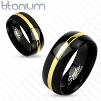 8mm Two Tone Gold Line Center Black IP Titanium Men's Ring Wedding Band