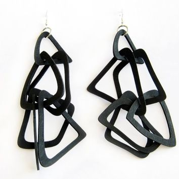 Oversized Earrings, Geometric Wood Earrings, Statement Large Dangle, Extra Long Link Earrings, Black White Jewelry, Bold Women Gift