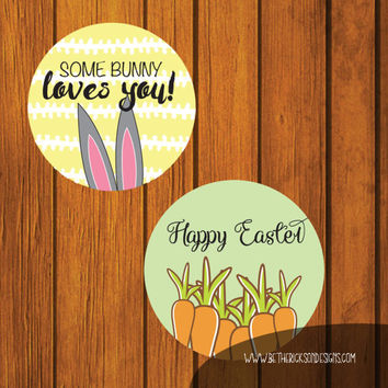 Easter Mason Jar Lid Labels / Mason Jar Labels / Easter Labels / Easter Gift Tags / Instant download / Easter Bunny / Happy Easter