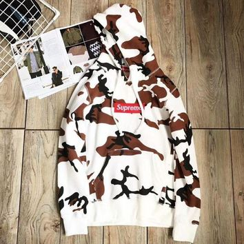 Supreme Fashion Camouflage Print Top Sweater Hoodie Sweatshirt