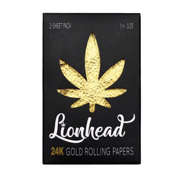 24K Gold Rolling Papers 2-Sheet Pack - Lionhead