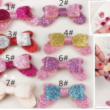NEW Sequin bow without clip  DIY hair accessories double layer mini bowknot  8color 10pcs/lot