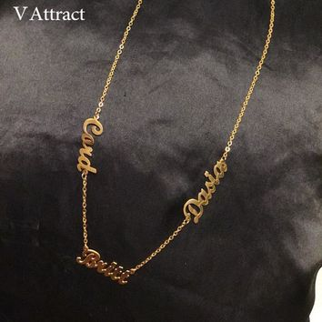 V Attract Custom Three Name Necklace Women Personalized Jewelry Best Friends Gold Multiple Names Handmade Bijoux Collier Femme