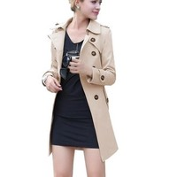 Lovaru Women's Double Breasted Belted Long Trench Coat