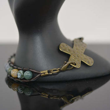 Cross Connector Bracelet, Beaded Cross Bracelet, Hammered Cross Bracelet