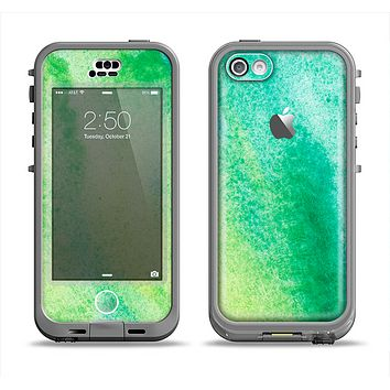 The Vibrant Green Watercolor Panel Apple iPhone 5c LifeProof Nuud Case Skin Set