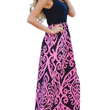 Rosy Damask Print Sleeveless Boho Long Dress