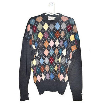 Mens Vintage Merino Wool Sweater Geometric Colorful Pullover for Men Large L XL