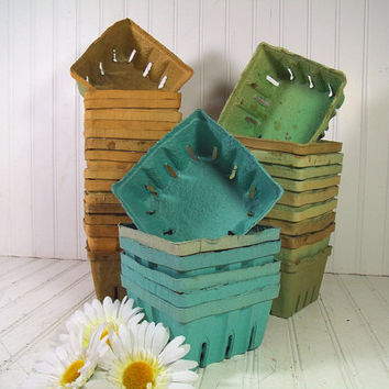 Vintage Set of 6 Berigard Fiber Paper Berry Baskets - Farm House Fresh Finds for Storage - 6 Rustic Robin Egg Blue Organizer Bins Collection