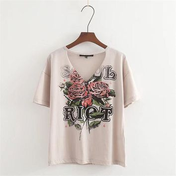LMFONHS Summer T shirt Women Tops Rose Floral Letter Print T-shirt Female Tshirt Casual Cotton Top Tees V-neck Harajuku Tee Shirt Femme