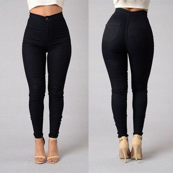 Women's Pencil Stretch Denim Skinny Jeans Casual Pants High Waist Slim Fit Stretchable Long Trousers 5 Solid Colors Available