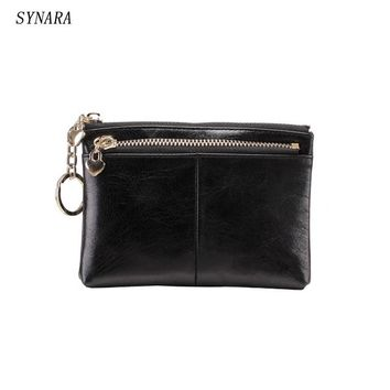 Vintage style women  Genuine Leather Coin Purse Small men's Real Leather Coin Wallet Credit card holder bag can attach to belt