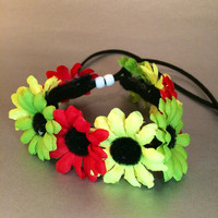Rasta, reggae, daisy, Flower crown, colorful, festival, hair vine, garden wedding, summer headband, edc, rave outfit, accessories, coachella