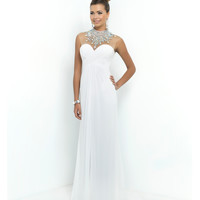 White Sheer Beaded High Neck Sweetheart Chiffon Gown