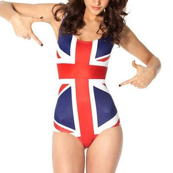 Fashion Women Sexy Sky National Flag Digital Print Plus Size One Piece Bikini Swimsuit Bodysuit