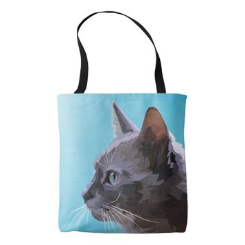 Geometric Cat Design Tote Bag
