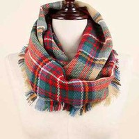 Plaid Infinity Scarf in Beige EASC8435BE
