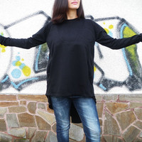 NEW COLLECTION Black Extravagant Asymmetric Top / Loose Casual Blouse/ Long Sleeves Party Shirt / Drape Oversize Top by moShic B004