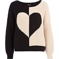 River Island Womens Black rib color block heart sweater