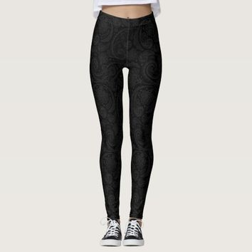 Cute black paisley pattern leggings
