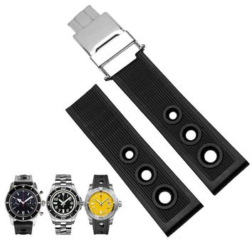 TJP Brands Silicone Rubber Watch Strap 22mm 24mm Black Watchbands Bracelet For Breitling Nnavitimer Avenger Wristband