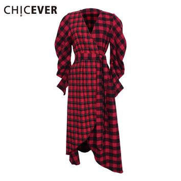 Plaid Autumn Party Dress Female Long Sleeve Lace Up Kimono Midi Women Dresses Asymmetrical Red Casual Clothes New