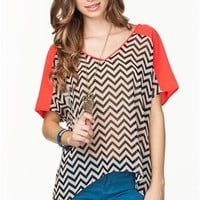A'GACI Zig Zag Color Block Tee - TOPS