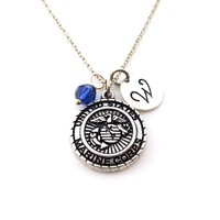 Marine Corps Charm Personalized Sterling Silver Necklace