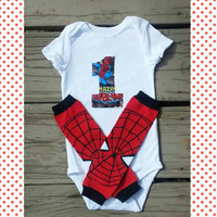 Spiderman First Birthday Outfit - Comics - Spiderman Cake Smash Outfit - Spider Man - Superhero Birthday - Photo Prop - Leg Warmers - Baby